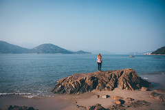 Gazing the horizon (]vincent[) Tags: hk hong kong china asia canon 50 mm sony rx 100 mk iv girl self ginger beautiful portrait people bicycle cheung chau trip island sea blue sun ocean dusk