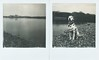 # (alex//b) Tags: 2018 polaroid sx70 analog instand film polaroidoriginals elbe fluss river gauernitz dresden meisen landschaft landscape ufer shore hund dog dalmatiner dalmatian schwarzweis sw blackwhite bw