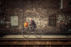 Radfahrer... (hobbit68) Tags: radfahrer fahrrad schienen windows fenster frankfurt fechenheim wall wand