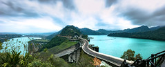 Save For A Rainy Day (Jimweaver) Tags: mountain green tour taoyuan lakeside taiwan boat ship water 池 湖 winter park path 公園 asia 植物 亞洲 canon eos 80d landscape wind cloudy sky tree 風 多雲 天空 陰 建築 樹 石門水庫 reservoir 桃園 pano stream