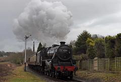 Townsend Fold (garstangpost.t21) Tags: 45212 lostockhallshed eastlancashirerailway elr black5 class5mt townsendfold levelcrossing heywood rawtenstall lancashire steamtrain steam semaphoresignal grimupnorth dull exhaust track railway train
