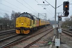 "Colas Rail Class 37/0, 37219 ""Jonty Jarvis 8-12-1998 to 18-3-2005"" (37190 ""Dalzell"") Tags: colasrail orangeyellowblack nr networkrail yellow testtrain ee englishelectric type3 growler tractor class37 class370 class374 37219 jontyjarvis8121998to1832005 d6919 37421 37267 d6967 northwestern wigan"