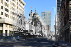 """Looking South on Calhoun from Columbia: Circa 1900 & 2017"" (D A Baker) Tags: calhoun columbia intersection street people pedestrian vintage old new photograph blend rephotography now then dear looking past downtown fort wayne ft indiana acpl allen county public library danielbaker united states unitedstates america refotografie"