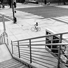 girl on bicycle in L.A. (gguillaumee) Tags: film analog grain losangeles america usa bw blackandwhite bike bicycle girl alone lonely pause stop street downtownla streetphotography rolleiflex mediumformat