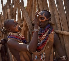 Karo Women (Rod Waddington) Tags: africa african afrique afrika äthiopien ethiopia ethiopian ethnic etiopia ethnicity ethiopie etiopian omovalley omo outdoor omoriver dus village wooden wood karo tribe tribal traditional face painted painting beads culture cultural child sundaylights