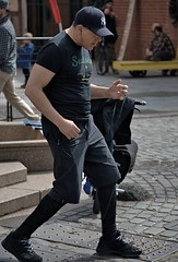 Air Guitar (Scott 97006) Tags: man dance simulate guitar play music black earbuds