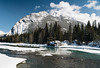 Mt Rundle (meezoid) Tags: banff alberta mountain rundle bowfalls river bowriver frozen winter snow ice pines melting travel canada scenery nature