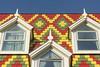 Three dormers (Jan van der Wolf) Tags: map18390v roof dak dakpannen rooftiles denhaag architecture architectuur dakkapel dormer dormerwindow yellow geel red redrule rood green groen dekesslerstichting kesslerstichting