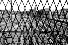 Gare de Colmar  -  Station of Colmar (Philippe Haumesser (+ 6000 000 view)) Tags: train rail railway chemin de fer neige snow hiver winter nikond7000 nikon d7000 reflex colmar alsace elsass france hautrhin 68 noiretblanc blackandwhite ciel lignes bâtiment ville route
