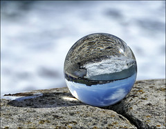 A New Toy (jo92photos) Tags: globe crystal sphere photographytoy optics seaside coast