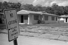 No Loitering (PositiveAboutNegatives) Tags: leica rangefinder m3 leitz leicam3 50mm 50mmsummicrondr dualrange yellowfilter film analog foma fomapan arista fomapan100 bw blackandwhitefilm rodinal coolscan empty abandoned vacant deserted governmenthousing sectioneight