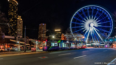 Atlanta, GA: Ground Zero - Centennial Olympic Park at Skyview (nabobswims) Tags: atlanta atlantastreetcar centennialolympicpark georgia hdr highdynamicrange ilce6000 lrv lightrail lightrailvehicle lightroom nabob nabobswims night nightfoto photomatix rapidtransit sel1018 skyview sonya6000 us unitedstates urban