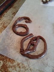 Sweet 60 (yummysmellsca) Tags: fine belgian dark chocolate gold flakes rose flour piped drawn freehand finebelgiandarkchocolate goldflakes