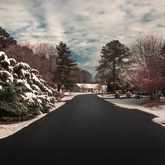 A view of a street in Frankford, Delaware, in a sunny day right after a snow storm. (pedroferr) Tags: lines usa landscape winter woods delaware 1x1 fujifilm snow unitedstatesofamerica sunny road tree travel street house sky outdoors scene nature cold clouds frankford vertical color