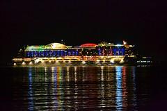 AIDAperla (medmondo66) Tags: aidacruises cruiseship reflections watercolours nightphotography nightshot