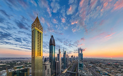 _MG_3410 - Sunset over Dubai Downtown (AlexDROP) Tags: 2018 dubai uae travel architecture skyline skyscraper tower color city wideangle urban scape canon6d ef16354lis best iconic famous mustsee picturesque postcard bluehour hdr panorama sunset