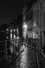 Sint-Annakerkstraat bridge, Bruges, Belgium (Plan R) Tags: bridge railing blackandwhite night dark evening rain reflection cobblestone bruges leica m 240 noctilux 50mm