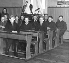 Class photo (theirhistory) Tags: boys kids school class form group teacher desks bird display jacket trousers wellies rubberboots