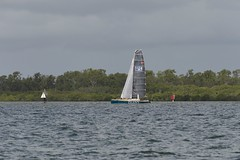LOX_3760 (Lox Pix) Tags: australia queensland brisbanetogladstone yachtrace catamaran trimaran 2018 bossracing multihull loxpix moretonbay shorncliffe cabbagetreecreek rudder aground sailing loxworx