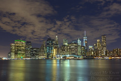 Lower Manhattan Skyline (Brian Knott Photography) Tags: lowermanhattan manhattan ny nyc newyork newyorkcity skyline night nightphotography dark clouds cloudy sky water ocean river sea atlantic atlanticocean bay reflection longexposure slowshutter eastriver hudson hudsonriver brooklyn freedomtower worldtradecenter