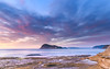 Dawn Seascape with Island and Soft Clouds (Merrillie) Tags: daybreak sunrise nature dawn coast water morning sea newsouthwales rocks pearlbeach nsw rocky waterscape ocean earlymorning landscape waves coastal clouds outdoors seascape australia centralcoast sky seaside