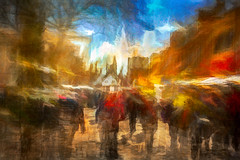 St Albans Market (RCARCARCA) Tags: marketplace ghosts cathedral photoartistry people clocktower buildings canon orange red 70200l bustle blue grunge stalbans marketstall tourists crowds flags stormclouds architecture clouds frenchrow market 5diii hustle