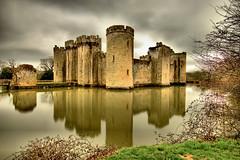 Bodiam Castle (Geoff Henson) Tags: castle moat building sky clouds grass water trees reflection hdr longexposure turret drawbridge medieval nationaltrust 1000v40f