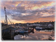 Evening Light, Greencastle, Co. Donegal. (willieguildea) Tags: boat fishingboats trawler harbour port quay sunset sky clouds water waterscape reflections coast nikon greencastle donegal ireland eire ulster