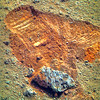 Opportunity's Wheel Tracks and a Meteorite 1, variant (sjrankin) Tags: 22april2018 edited nasa mars rgb colorized bands257 rock meteorite sand tracks wheeltracks treadmarks opportunity endeavourcrater