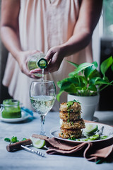 Crab Cakes with Chimichurri Sauce (playfulcooking) Tags: crab cake chimichurri sauce foodphotography foodstyling snacks fritters