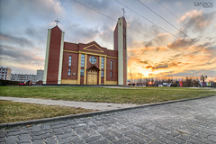 Church of the Holy Trinity in Pabianice - Modern sacral architecture (sanzios) Tags: holytrinity pabianice church modern sacral architecture cloud christian road cityscape catholic cross panorama start symbol tower sunrise holy