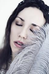 *** (bernadetakupiec) Tags: woman portrait selfportrait face skin mood atmosphere feather canon 50mm indoor naturallight people