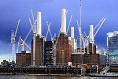 Work in Progress (Geoff Henson) Tags: cranes chimneys towers powerstation cloud river water building work industrial development rain sunshine 1000v40f