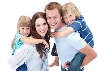 Portrait of family enjoying piggyback ride