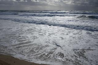 Juste avant le grain, plage de l'Horizon, Cap-Ferret, bassin d'Arcachon, Gironde, Aquitaine, France.