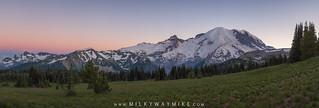 Mount Rainier Panorama At Dusk