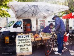 Melon Seller - Aigre (Mike Cordey) Tags: melon charentais aigre flickr dappled charente poitou vendour market plein air
