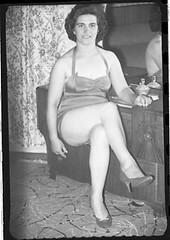 Bedroom beauty (vintage ladies) Tags: doris blackandwhite woman lady female portrait pretty sitting sexy tease bedroom legs sexylegs vintage eoshe