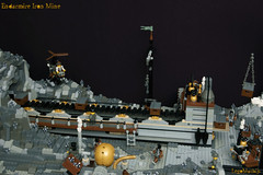 05_Endarmire_Iron_Mine (LegoMathijs) Tags: lego moc legomathijs steampunk mine miners mining rocks iron ore steampowered drones tracked driller flying discovery vehicle explorer speeder transporter transport airship clockwork drone speeders walking steamcopters pickaxe tools crates shaft cranes workshop gears cave docks