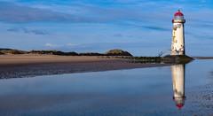 Point of Ayr reflections (mandysp8) Tags: wales talacre flintshire lighthouse beach seascape sea ocean sanddunes reflections bluesky