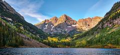 Sunrise Bells-1-2 (MorMadDad) Tags: 2017 aspen colorado lake maroonbells mountain sunrise trees