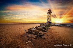 Lighthouse Sunset Wales (Adrian Evans Photography) Tags: horizon rock sand seashore talacrelighthouse sea wales beach maritime uk coastal architecture disused crooked lighthouse navigation landscape sunset landmark outdoor nautical footprints clouds talacre british northwales coastline steps coast shore adrianevans worn abandoned flintshire seascape pointofayre europe tower sky