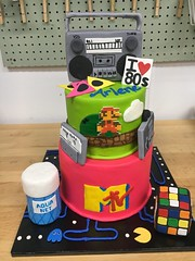 IMG_5244 (backhomebakerytx) Tags: back home bakery weatherford texas parker county mtv rubiks cube hair spray pacman 80s 1980s mario two tier neon cake birthday