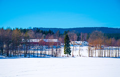 Late Winter Countryside (bjorbrei) Tags: winter snow ice lake shore trees forest hill hills sky countryside farm field barn storebrennenga maridalen maridalsvannet lakemaridal oslo norway