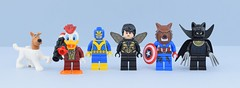 Marvel minifigs #1 : Super animals (Alex THELEGOFAN) Tags: lego legography minifigure minifigures minifig minifigurine minifigs minifigurines movie marvel monster duck dog wasp ant werewolf wolf panther heroes super america captain howard cosmo space the man black gray dark