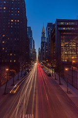 Tudor City Bridge view (jornvk) Tags: cartrails night city view tudorcity dark sunset longexposure cityscape nyc newyorkcity road skyscraper sky people lines architecture building tree nikonflickraward