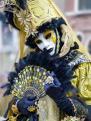 Glamorous in Gold (cheryl strahl) Tags: italy carnaval carnevaledivenezia holiday costumes masks glamour festive