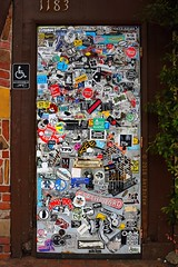 Sticker Shock at 1183 (Art By Pem Photography: Tao Of The Wandering Eye) Tags: fineartphotography canon canoneosrebelsl1 canonefs24mmf28stm sticker stickershock bumpersticker usa lagunabeach decal words pattern door nopeople letters stilllife whimsical