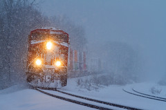 April, go away (MRL 390) Tags: canadianpacific cp freighttrain freight train railroad snow heavysnow snowfall cold spring winter springsnow cp8862 es44ac cpes44ac canadianpacifices44ac ge generalelectric gees44ac