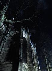 Effroi nocturne (Pimenthe) Tags: frightening fear dark black white church archtecture night sky walls building city streets